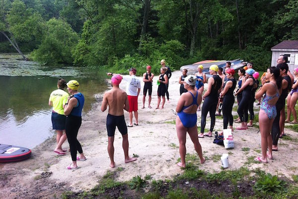 Open water swim clinic at training camp in Pennsylvania