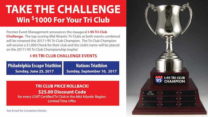 Save the date in your race schedule for the I-95 Club Challenge (Philly and Nation's Triathlons)